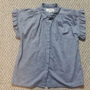 Trovata Birds of Paradis button up denim blouse-S